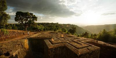 Elevated View of Church of Saint George, Lalibela, Ethiopia--Photographic Print