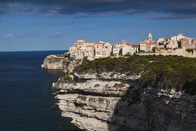 Elevated View of City and Cliffs, Bonifacio, Corsica, France-Walter Bibikow-Photographic Print