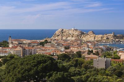 Elevated View of City, Ile De La Pietra, Ile Rousse, Corsica, France-Walter Bibikow-Photographic Print