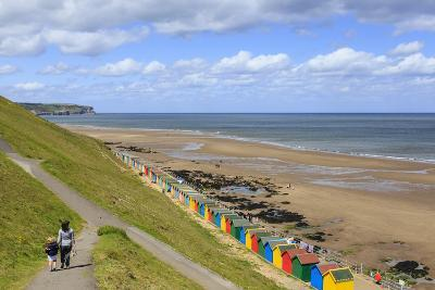 Elevated View of Colourful Beach Huts on West Cliff Beach-Eleanor Scriven-Photographic Print