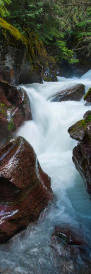 Elevated View of Creek Flowing Through Rocks, Avalanche Creek, Us Glacier National Park--Photographic Print