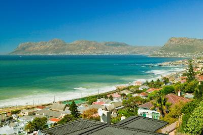 Elevated view of False Bay and Indian Ocean, overlooking St. James and Fish Hoek, outside of Cap...--Photographic Print