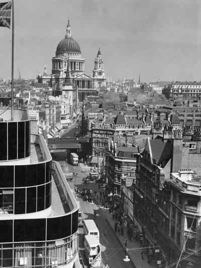 Elevated View of Fleet Street and Saint Pauls Cathedral-W^ Robert Moore-Photographic Print