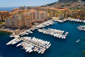 Elevated view of harbor in the Monte-Carlo, in the Principality of Monaco, Western Europe on the...