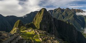Elevated View of Inca Ruins, Machu Picchu, Urubamba Valley, Cusco City, Peru