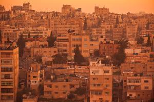 Elevated view of Jebel Amman area at dawn, Amman, Jordan