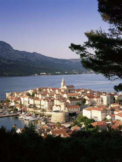 Elevated View of Korcula Town, Old Town of Korcula, Korcula Island, Dalmatian Coast, Croatia-Gavin Hellier-Photographic Print