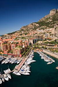 Elevated view of Monte-Carlo and harbor in the Principality of Monaco, Western Europe on the Med...