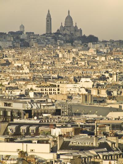 Elevated View of Paris with Montmartre and Sacre Coeur Basilica-Richard Nowitz-Photographic Print