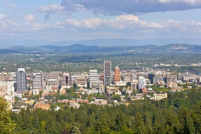 Elevated view of Portland skyline, Multnomah County, Oregon, USA--Photographic Print