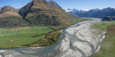 Elevated view of river passing through mountains, Matukituki River, Lake Waneka, Mount Aspiring...--Photographic Print