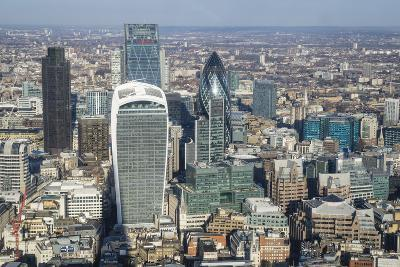 Elevated View of Skyscrapers in the City of London's Financial District, London, England, UK-Amanda Hall-Photographic Print