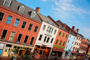 Elevated View of storefronts on Market Street, Portsmouth, New Hampshire, Main Street USA