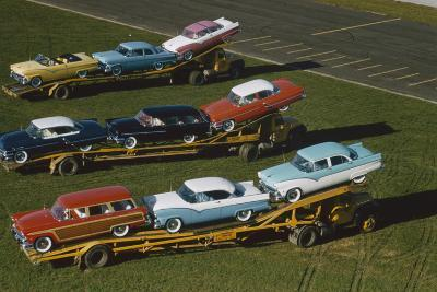 Elevated View of the 1954 Line of Ford Fairlaine Automobiles-Yale Joel-Photographic Print
