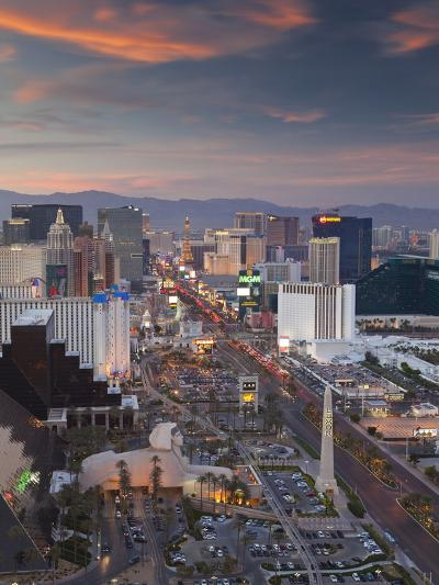 Elevated View of the Hotels and Casinos Along the Strip at Dusk, Las Vegas, Nevada, USA-Gavin Hellier-Photographic Print