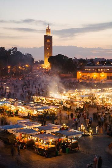 Elevated View of the Koutoubia Mosque at Dusk from Djemaa El-Fna-Gavin Hellier-Photographic Print