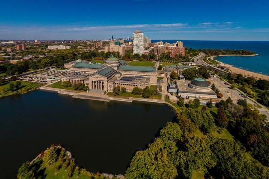 elevated view of the museum of science and industry chicago