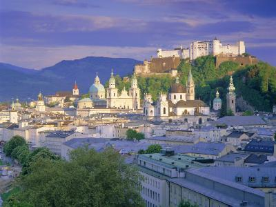 Elevated View of the Old City, Kollegienkirche and Cathedral Domes, Salzburg, Tirol, Austria-Gavin Hellier-Photographic Print