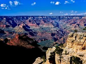 Elevated view of the rock formations in a canyon, South Rim, Grand Canyon National Park, Arizona...