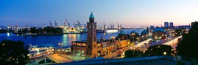 Elevated View of the St. Pauli Piers and Port of Hamburg, Elbe River, Hamburg, Germany--Photographic Print