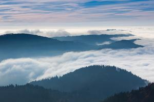 Elevated view of valley with autumn fog, Belchen, Black Forest, Baden-Wurttemberg, Germany