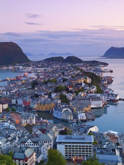 Elevated View over Alesund at Dusk, Sunnmore, More Og Romsdal, Norway-Doug Pearson-Photographic Print