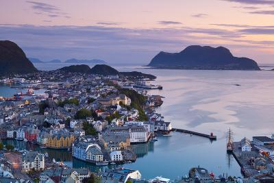 Elevated View over Alesund Illuminated at Dusk-Doug Pearson-Photographic Print