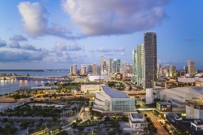 Elevated View over Biscayne Boulevard and the Skyline of Miami, Florida, USA-Gavin Hellier-Photographic Print