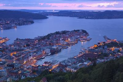 Elevated View over Central Bergen at Dusk, Bergen, Hordaland, Norway, Scandinavia, Europe-Doug Pearson-Photographic Print