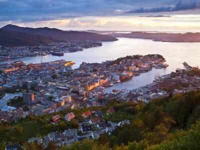 Elevated View over Central Bergen Illuminated at Sunset, Bergen, Hordaland, Norway-Doug Pearson-Photographic Print