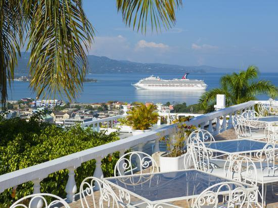 Elevated View over City Center and Cruize Liner, Montego Bay, St. James Parish, Jamaica, Caribbean-Doug Pearson-Photographic Print