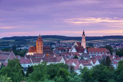 Elevated View over Donauworth Old Town Illuminated at Sunset, Donauworth, Swabia, Bavaria, Germany-Doug Pearson-Photographic Print