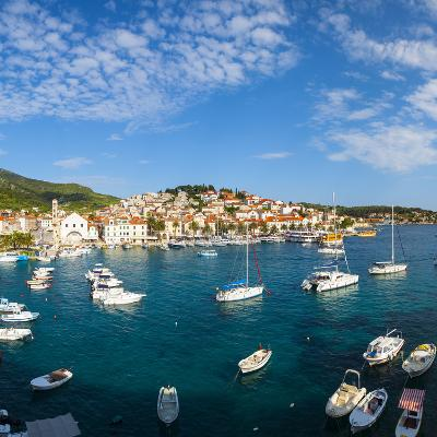 Elevated View over Hvar's Picturesque Harbour, Stari Grad (Old Town), Hvar, Dalmatia, Croatia-Doug Pearson-Photographic Print