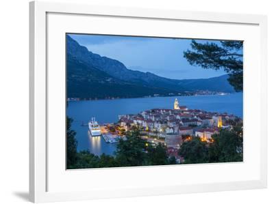 Elevated View over Korcula's Picturesque Stari Grad Illuminated at Dusk, Korcula, Dalmatia, Croatia-Doug Pearson-Framed Photographic Print