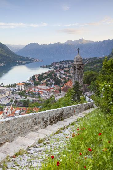 Elevated View over Kotor's Stari Grad (Old Town) and the Bay of Kotor, Kotor, Montenegro-Doug Pearson-Photographic Print