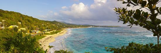 Elevated View over Long Bay at Sunrise, Portland Parish, Jamaica, Caribbean-Doug Pearson-Photographic Print