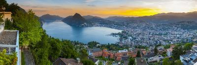 Elevated View over Lugano Illuminated at Sunset, Lake Lugano, Ticino, Switzerland-Doug Pearson-Photographic Print