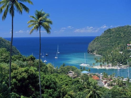 Elevated View Over Marigot Bay, Island of St. Lucia, Windward Islands, West Indies, Caribbean-Yadid Levy-Photographic Print