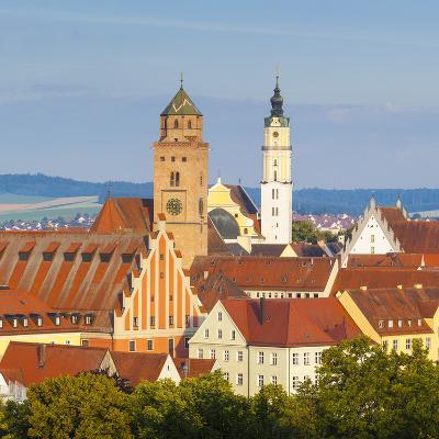 Elevated View over Old Town Church Spires, Donauworth, Swabia, Bavaria, Germany-Doug Pearson-Photographic Print