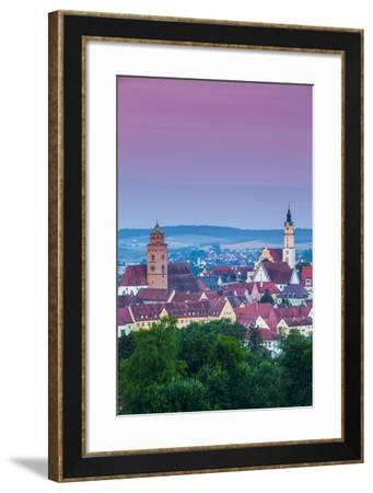 Elevated View over Old Town Illuminated at Dawn, Donauworth, Swabia, Bavaria, Germany-Doug Pearson-Framed Photographic Print