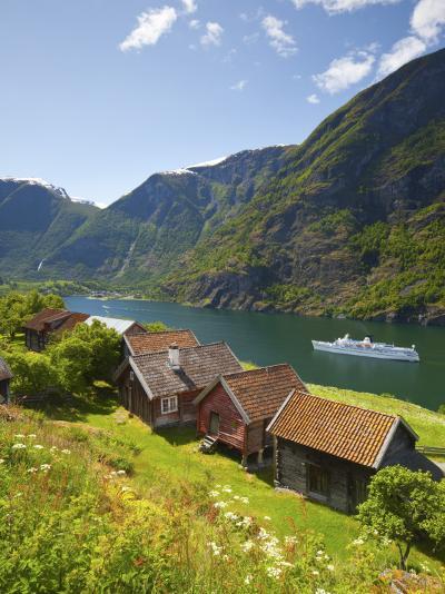 Elevated View over Otternes Bygdetun, Aurlands Fjord, Sogn Og Fjordane, Norway-Doug Pearson-Photographic Print