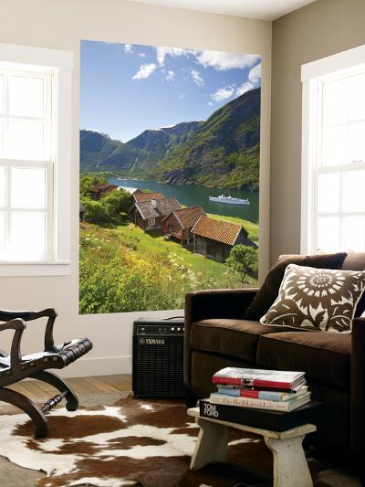 Elevated View over Otternes Bygdetun, Aurlands Fjord, Sogn Og Fjordane, Norway-Doug Pearson-Wall Mural