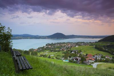 Elevated View over Picturesque Weyregg Am Attersee Illuminated at Dawn, Attersee, Salzkammergut-Doug Pearson-Photographic Print