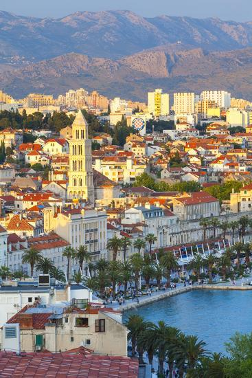 Elevated View over Split's Picturesque Stari Grad and Harbour Illuminated at Sunset-Doug Pearson-Photographic Print