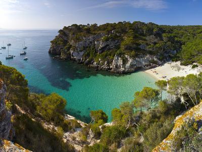 Elevated View over the Beach of Cala Macarelleta, Menorca, Balearic Islands, Spain-Doug Pearson-Photographic Print