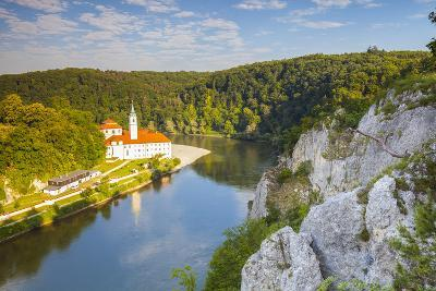 Elevated View over Weltenburg Abbey and the River Danube, Lower Bavaria, Bavaria, Germany-Doug Pearson-Photographic Print