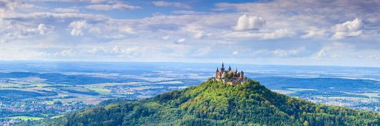 Elevated View Towards Hohenzollern Castle and Sourrounding Countryside, Swabia, Baden Wuerttemberg-Doug Pearson-Photographic Print