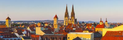 Elevated View Towards St. Peter's Cathedral Illuminated at Sunset, Regensburg, Upper Palatinate-Doug Pearson-Photographic Print