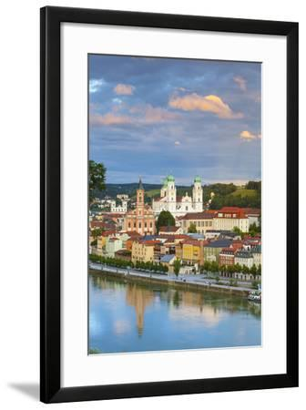 Elevated View Towards the Picturesque City of Passau at Sunset, Passau, Lower Bavaria-Doug Pearson-Framed Photographic Print