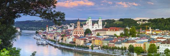 Elevated View Towards the Picturesque City of Passau at Sunset, Passau, Lower Bavaria-Doug Pearson-Photographic Print